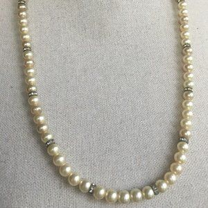 Vintage Pearl Crystal Rhinestone Long Necklace